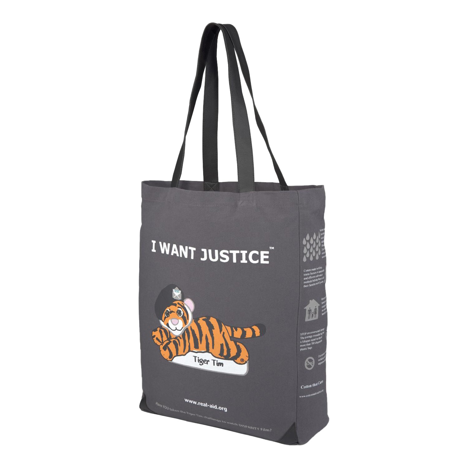 Tiger Tim Tote, Double Slogan Charcoal