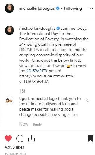 Michael Douglas quote endorsing Disparity documentary