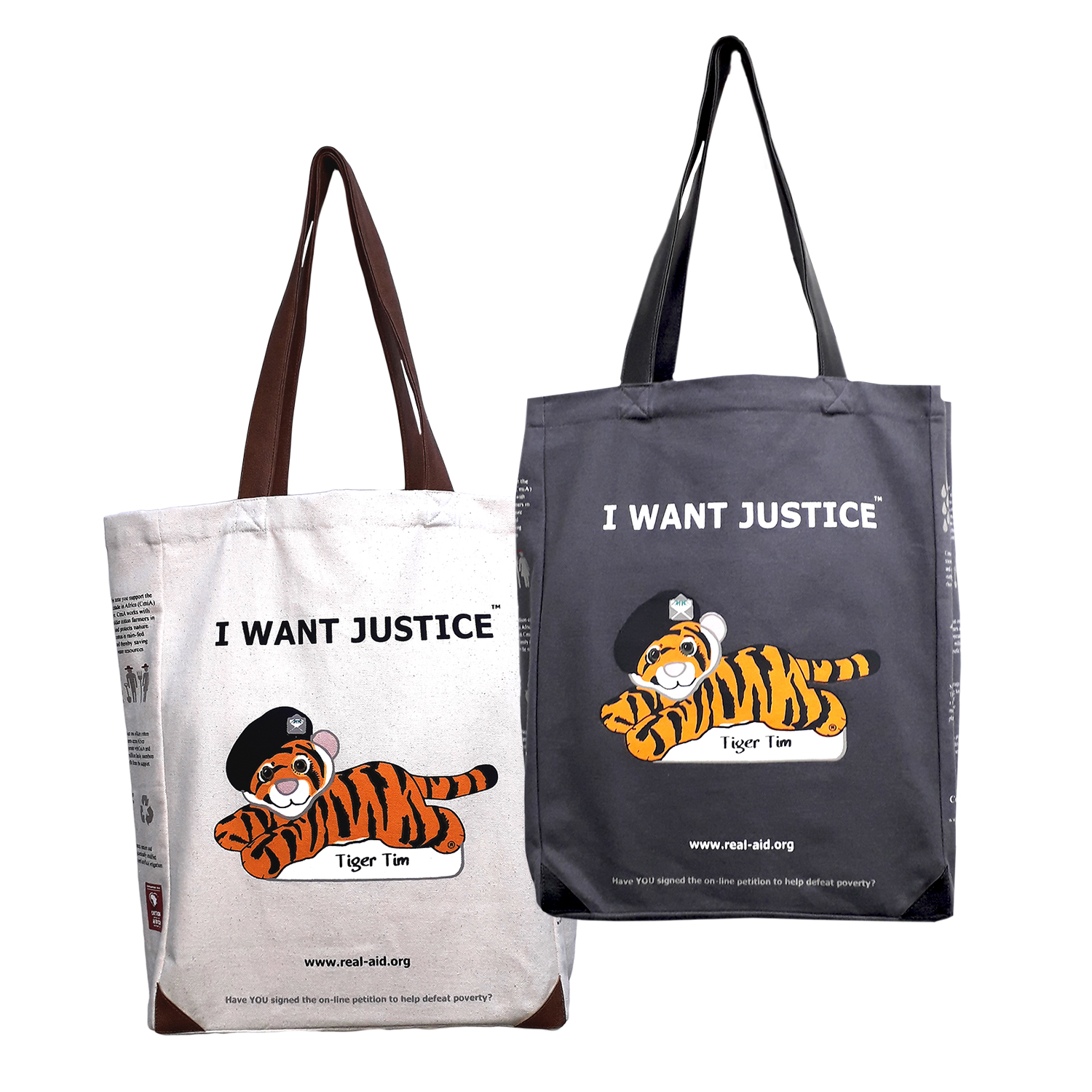 Tiger Tim Tote twin set, Double Slogan, Natural & Charcoal